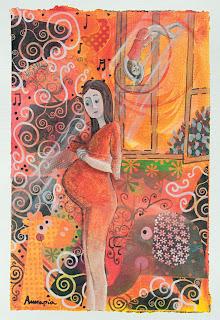 https://www.latelierdannapia.com/ chagall maternité maternità  Annapia Sogliani artiste peintre pittrice painter artist Scuola Internazionale di illustrazione di Sarmede