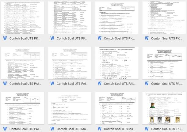 Contoh Soal UTS SD Kelas 1 2 3 4 5 6 Format Microsoft Word