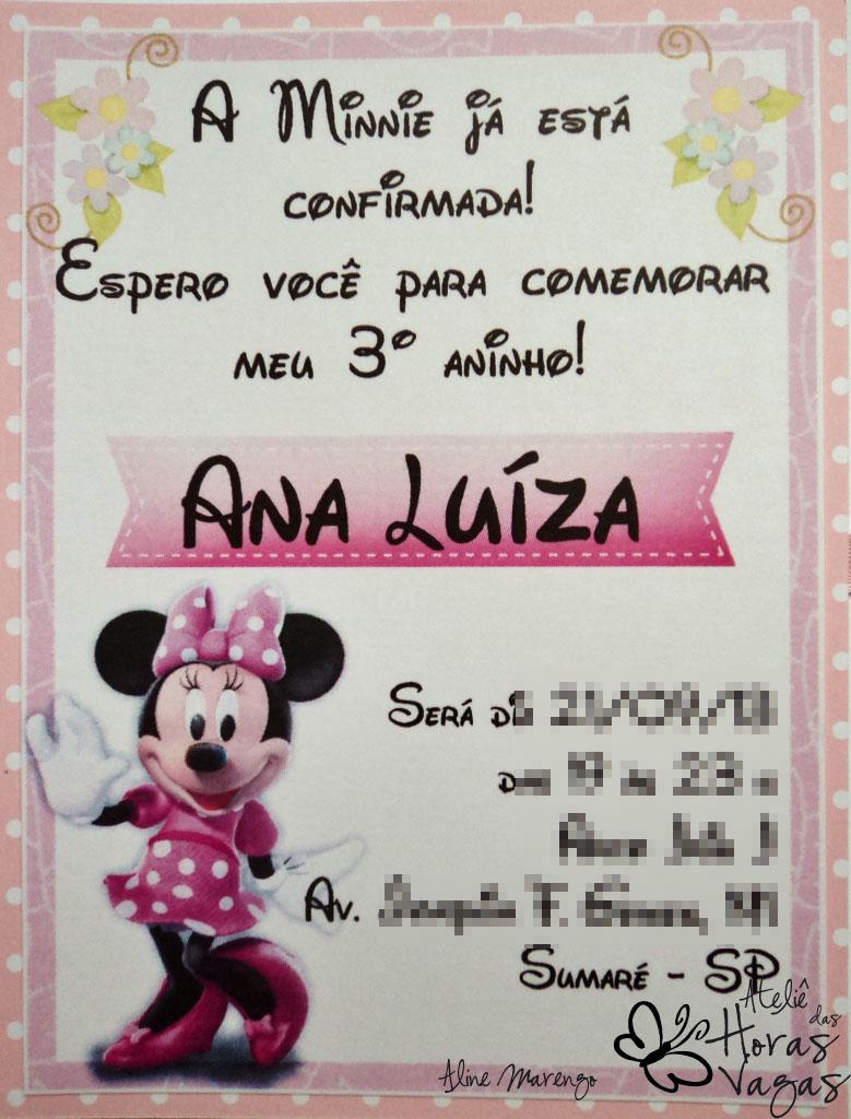 convite artesanal aniversário infantil minnie mouse poá rosa e branco menina festa