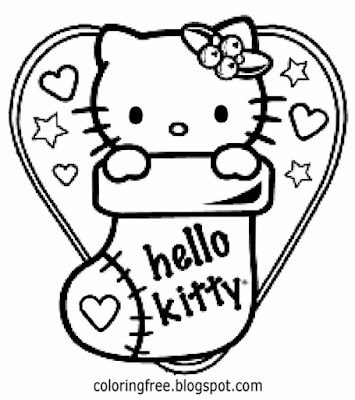 Simple hearts and stars printables Valentines coloring pages girls lovely kitten Hello Kitty cartoon