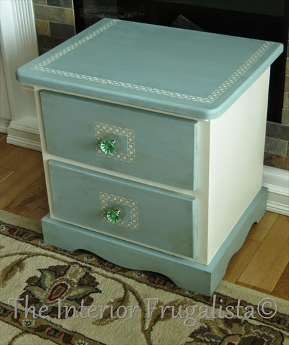 Pine table makeover with Arabesque Stencil and Glass Knobs