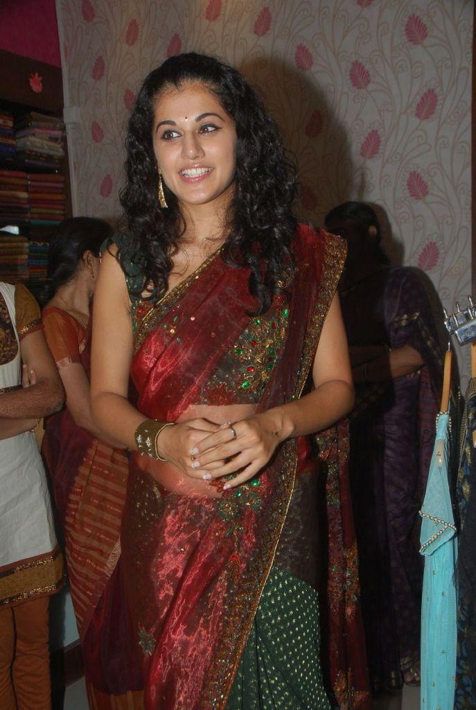 Tapsee Latest Hot Saree Pics at Sreeja Fashions