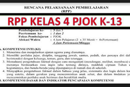 RPP PJOK Kurikulum 2013 Kelas 4 Semester 2 T.P 2018/2019