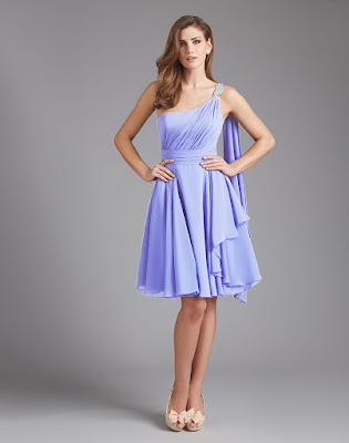 A-line Beaded One-Shoulder Strap Zipper Back Pleated Chiffon Bridesmaid Dress