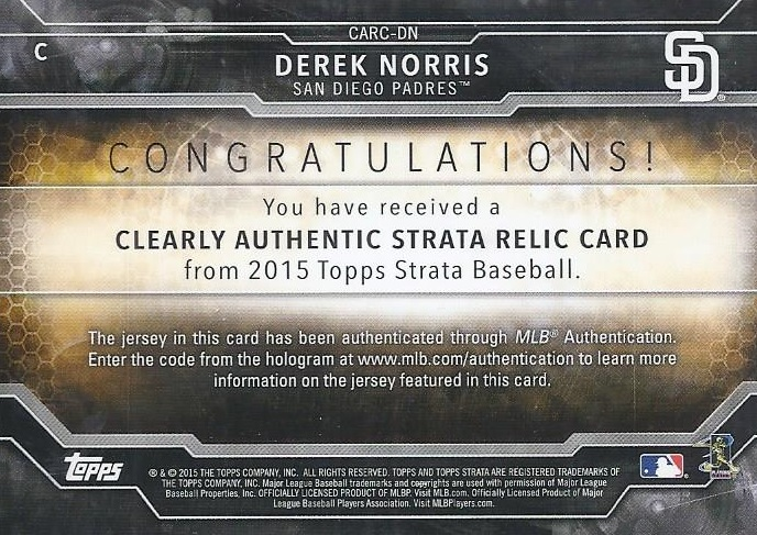 Sports Memorabilia, Fan Shop & Sports Cards sports memorabilia 2015 Topps Strata Clearly Authentic Relics #CARC-DN Derek Norris Baseball Card