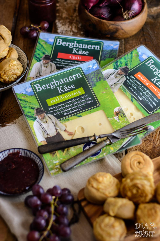 Bergader, Bergbauernkäse, würze Käse-Brotschnecken, Weintrauben-Zwiebel-Chutney, Brotrezept