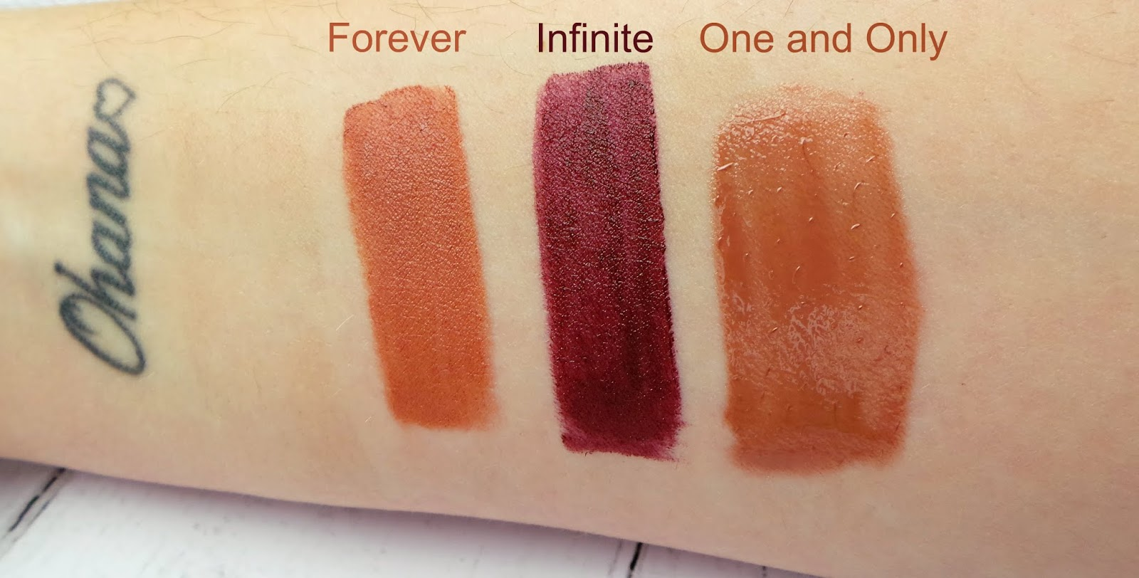 Mickey lip Collection swatches left is the nude called forever, middle is a deep berry called infinite and right is a nude gloss called one and only