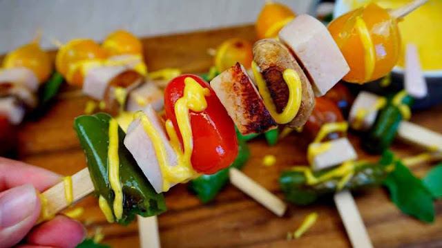 brochetas de pavo y curry saludables