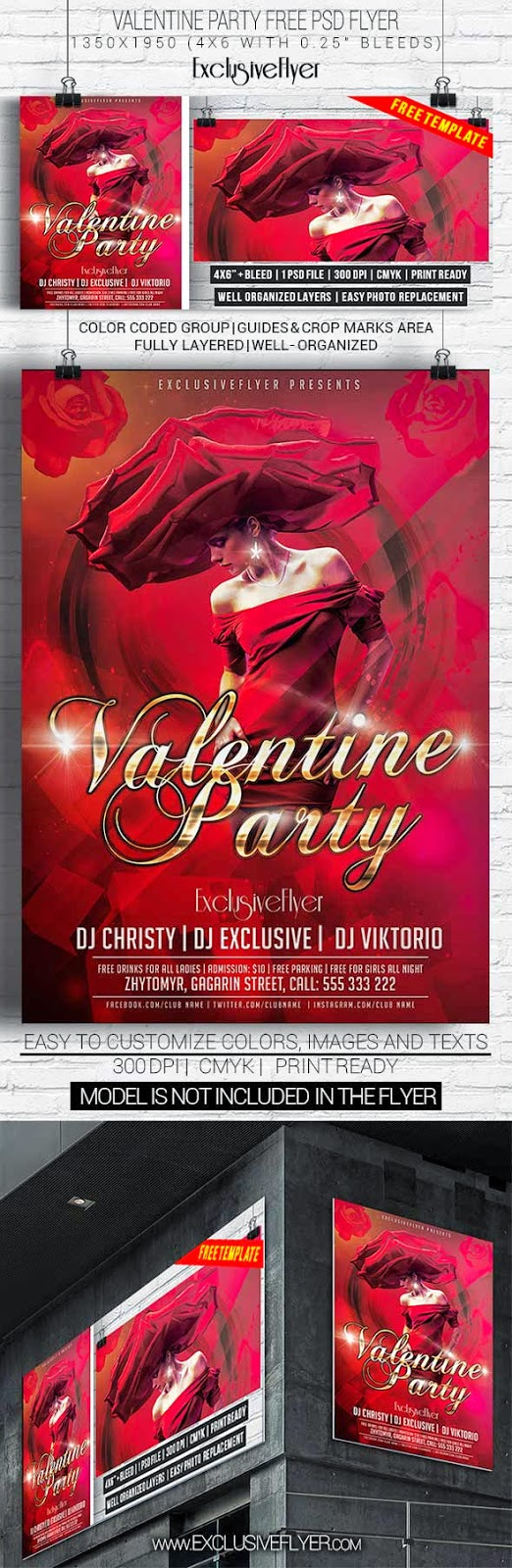 Valentine Party Flyer PSD Template