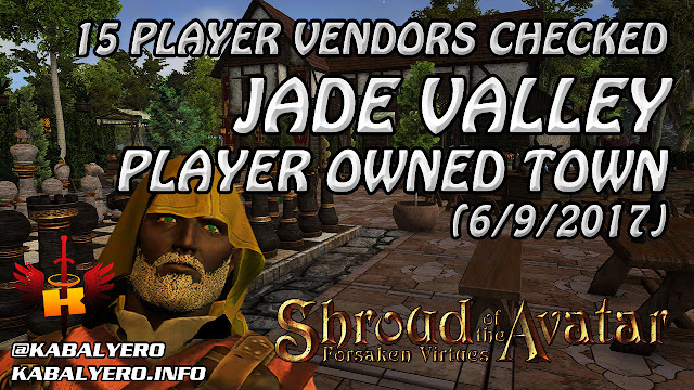 Jade Valley, 15 Player Vendors Checked (6/9/2017) 💰 Shroud Of The Avatar Market Watch