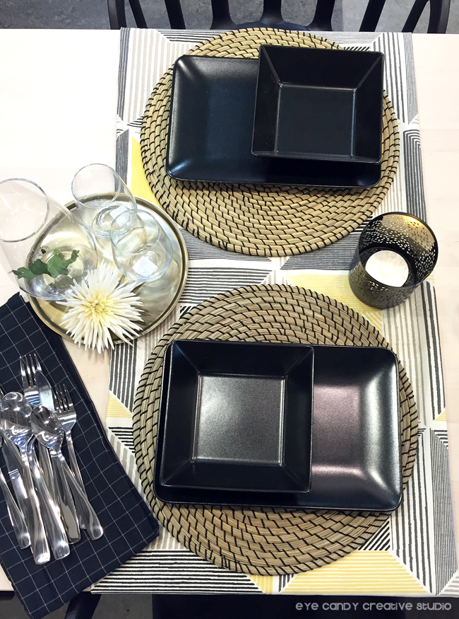 black place setting, IKEA blogger event, #IKEAcatalog, place setting ideas