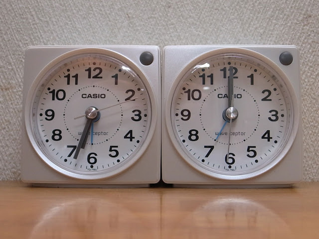 CASIO TQ-750J-7JF ウェーブセプターの置き時計(電波受信機能付きの目覚まし時計)