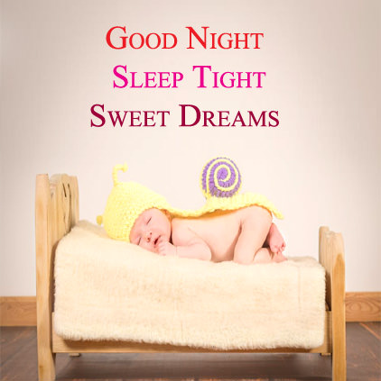 Cute Baby Sleeping on Bed and Wishing Good Night