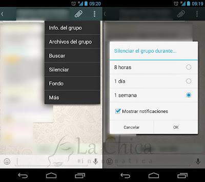 Desactivar notificaciones de grupos en WhatsApp