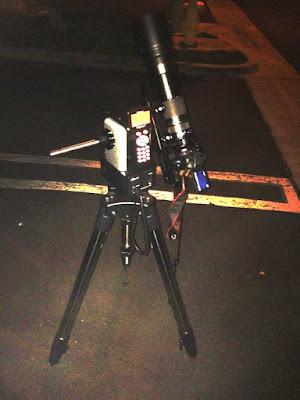 Ioptron AZ Mount Pro with attached DSLR 600 mm lens