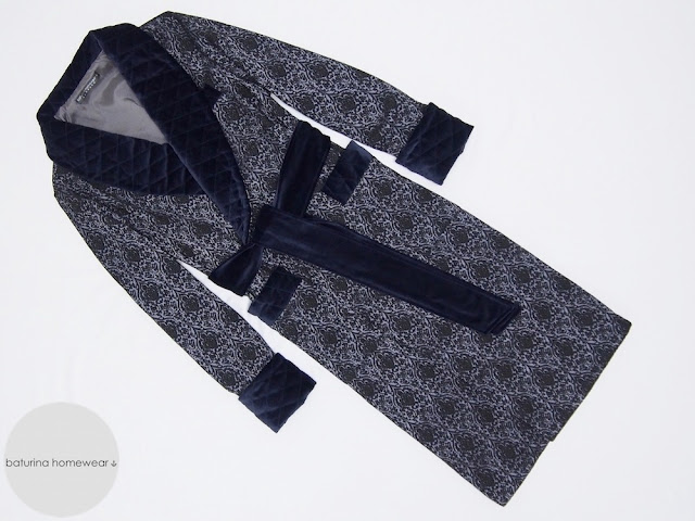 mens navy blue dressing gown paisley silk long lined warm jacquard english gentleman robes