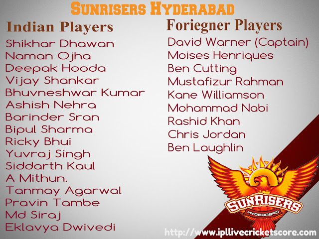 ipl 2017 team players list