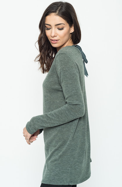 Buy Now olive Back Ribbon Sweater Tunic (Final Sale) Online $24 -@caralase.com