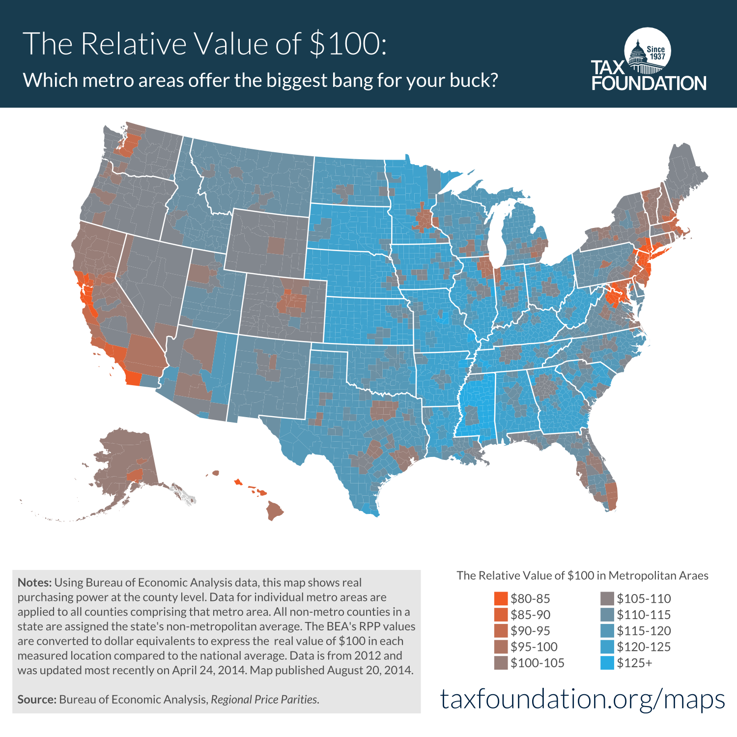 Value of $100 in american cities
