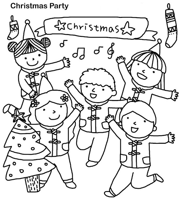 Christmas Party Coloring Pages