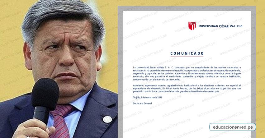 UCV: César Acuña dejó de integrar directorio de la Universidad César Vallejo