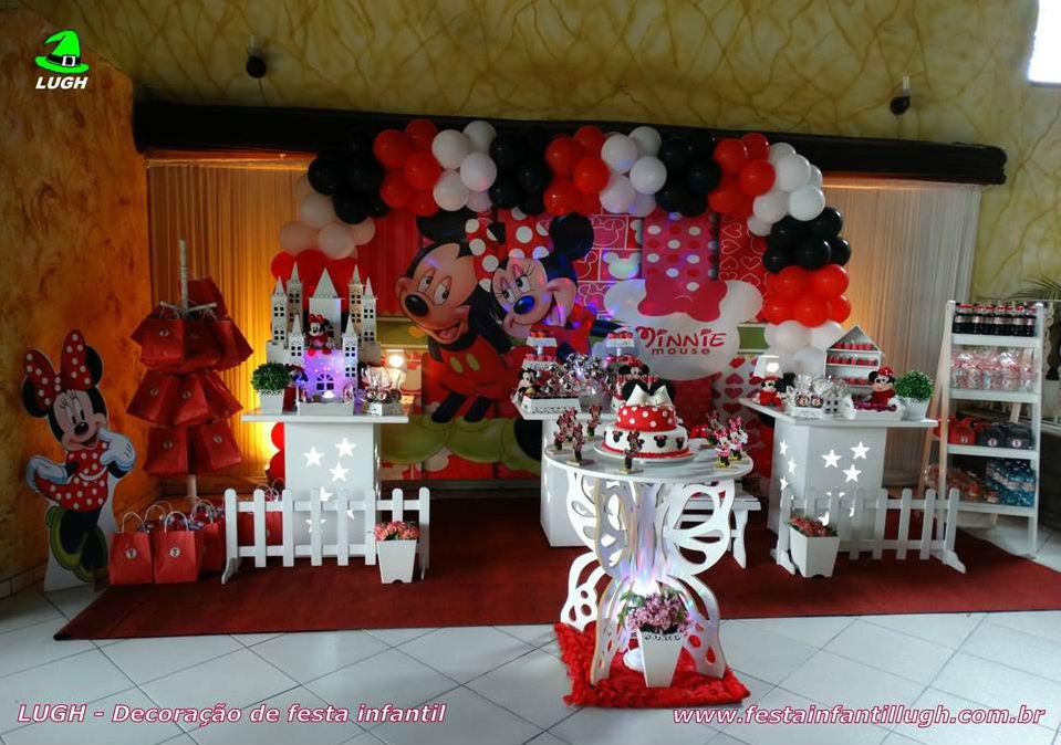 Minnie Mouse (vermelha)  Decoração provençal simples para festa de
