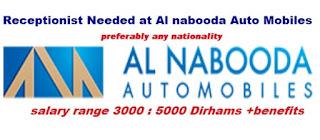 Receptionist at Al Nabooda Automobiles