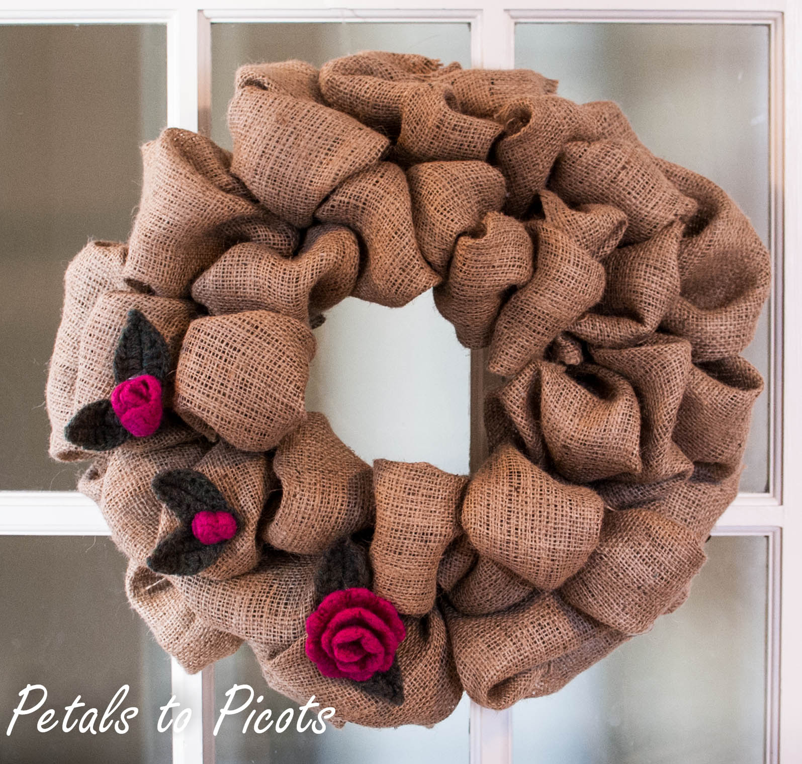 Rosebud And Leaf Pattern To Embellish A Burlap Wreath Petals To Picots