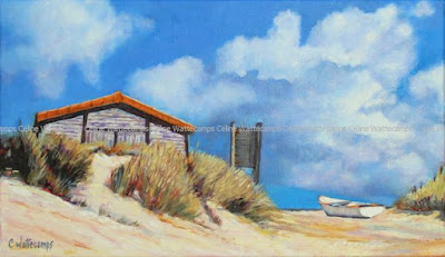 Tableau, dune, barque, mer
