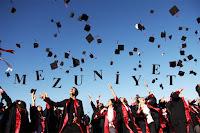 Mezuniyet töreninde kep fırlatan mezunlar ve havadaki kepler arasında yazan mezuniyet sözcüğü