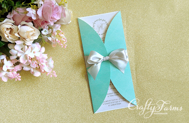 Mint Garden Wedding Invitation Card with Ribbon