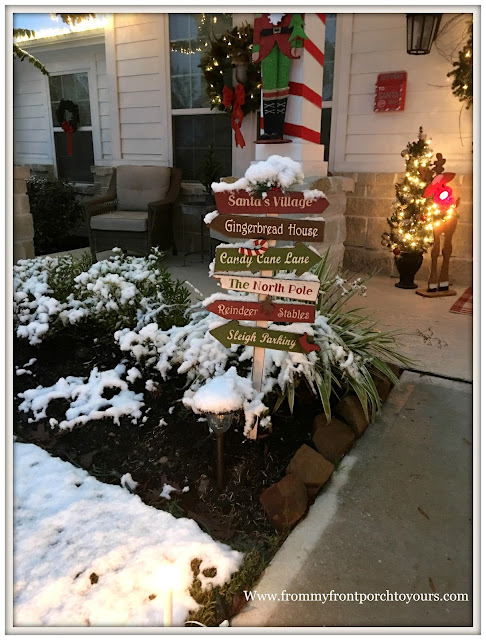 Christmas Front Porch Decorations-Farmhouse Porch-Snow-Christmas Lights-From My Front Porch To Yours
