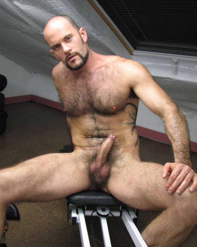 Bald hung muscle men
