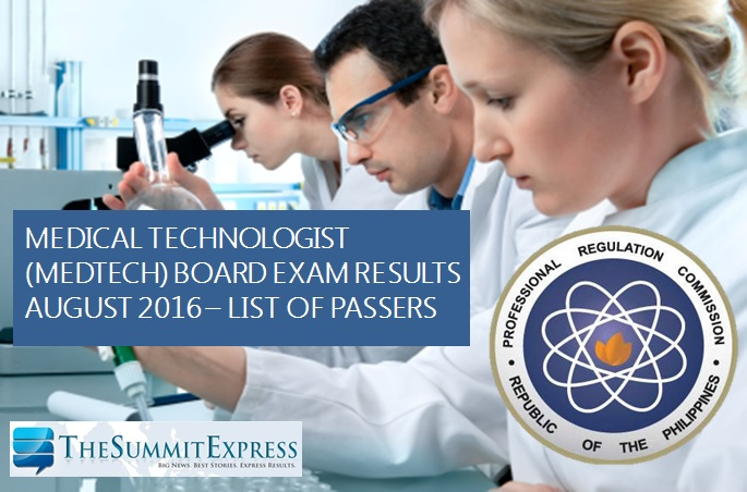 August 2016 Medtech board exam results