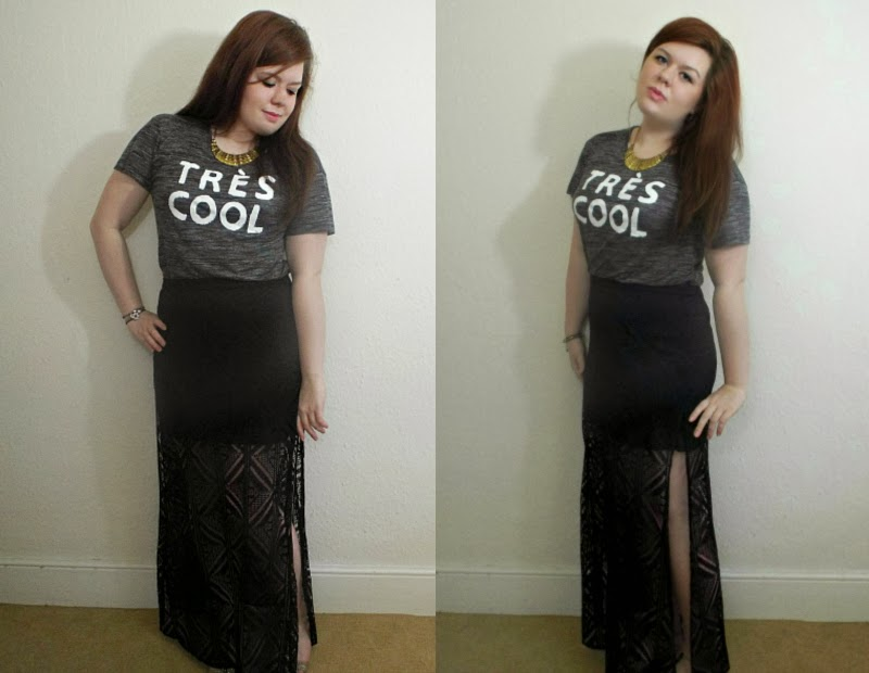 Fashion Is Our Religion, Outfit Of The Day, OOTD, WIWT, Fashion Blogger, Style Post, Outfit Post, H&M Tres Cool TShirt, H&M Lace Maxi Skirt
