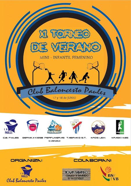 Cartel del  XI Torneo de Verano que organiza el Club Baloncesto Paúles