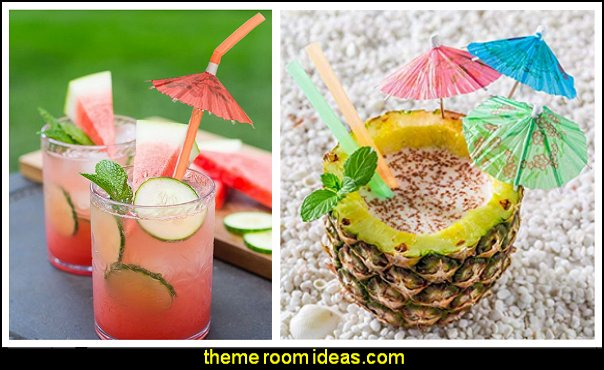 decorative drinks tropical party food ideas  Tropical party decorations - tropical party ideas - ALOHA Hawaii Luau Party Decorations - Luau Hawaiian Grass Table Skirt raffia Decorations - Hula Hibiscus Tropical Birthday Summer Pool Party Supplies - tiki party pineapple party decorations - beach party - Birthday party  photo backdrop - tropical themed cake decorations - beach tiki themed table decorations -  party props - summer party
