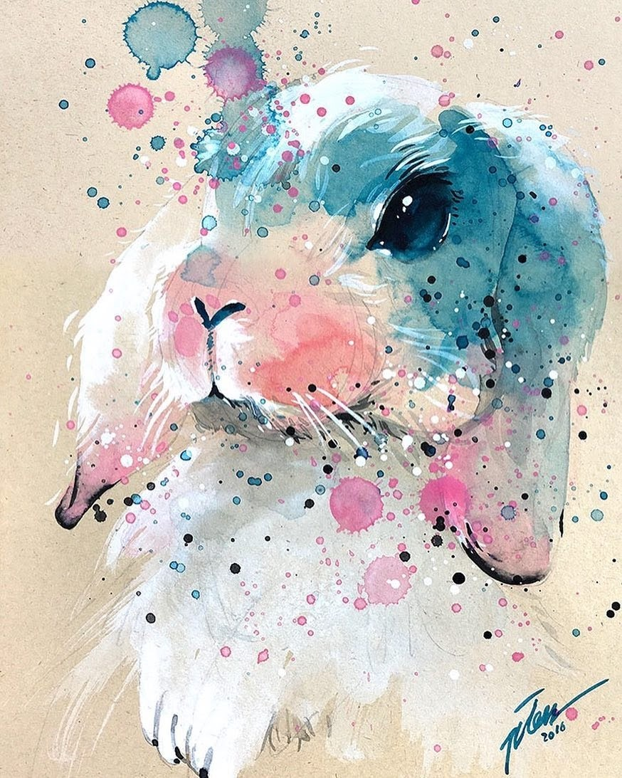 03-Bunny-Rabbit-Tilen-Ti-Paintings-of-Animals-with-Splashes-of-Paint-www-designstack-co