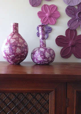 Decoupage Napkins on Paper Mache Vases