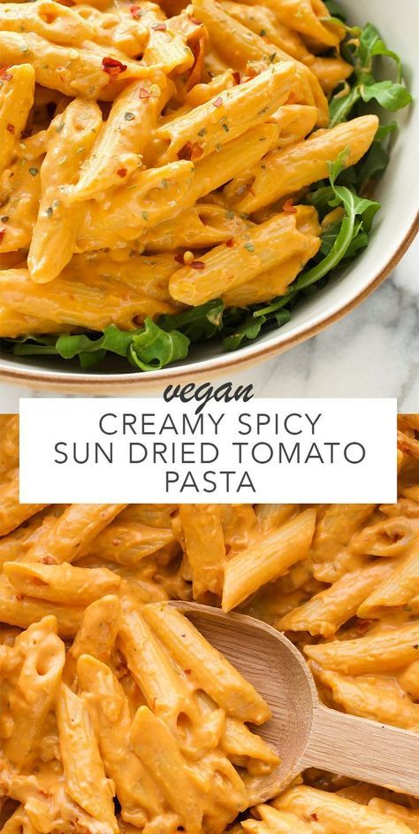 A creamy spicy sun dried tomato sauce that's simple and quick to make. Uses simple ingredients which makes it perfect for a weeknight dinner. Vegan and gluten free when using your favourite gluten free pasta.