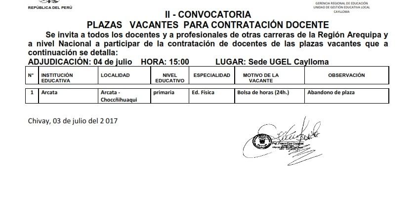 Ii convocatoria de docentes n 02 17 cc d ugel c ugel for Convocatoria de docentes 2017