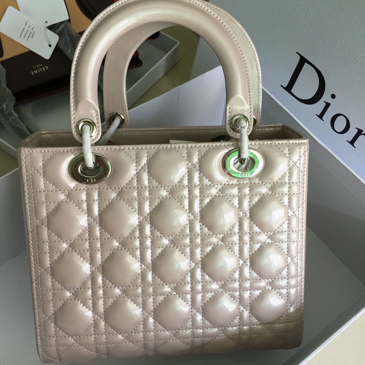 f6e2f2778976 Pre shipment Photos of Christian Dior Lady Dior bag 24CM in Patent Leather  pearl grey best original quality