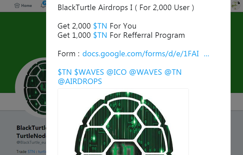 BlackTurtle Airdrops I ( For 2,000 User )
