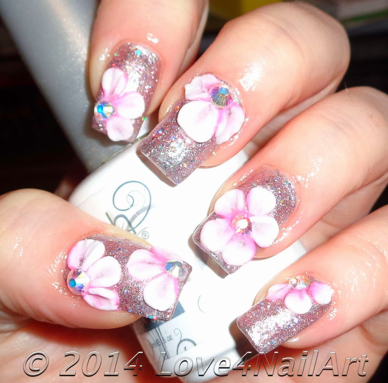 Love4NailArt: Two Toned 3d Flower Nail Art Design Idea