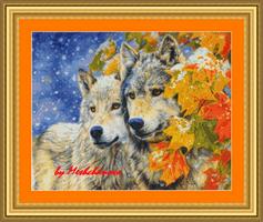 Пара волков и листья