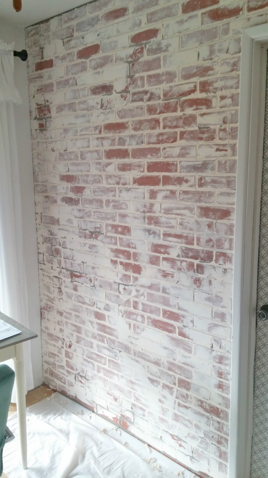 Faux Brick Interior Wall Living Room Makeover German Schmear Faux Brick Wall Little