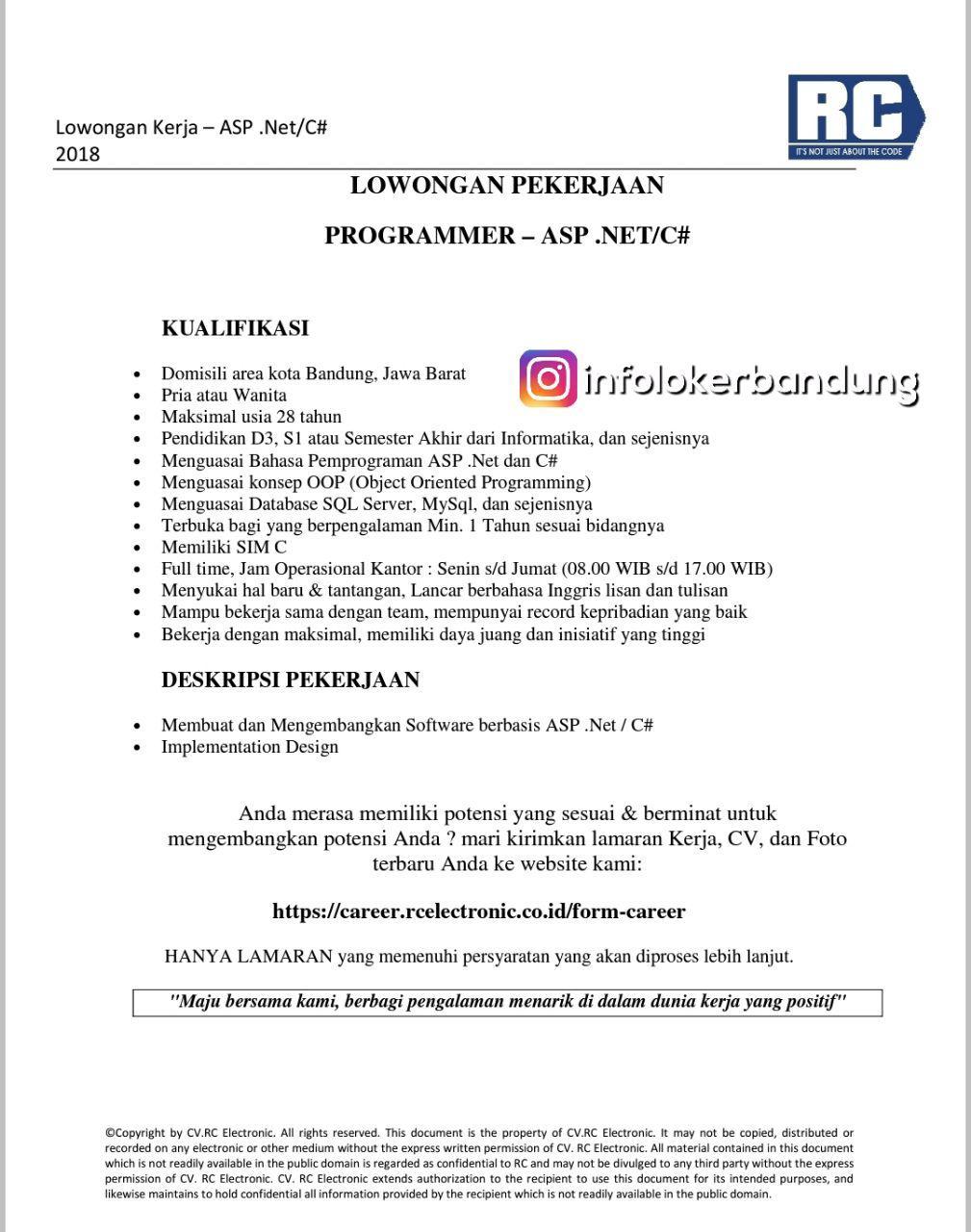 Lowongan Kerja  Programmer ASP .NET/C# CV. RC Electronic Bandung April 2018