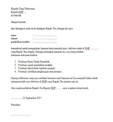 Contoh Surat Lamaran Kerja Menjadi Guru atau Staf Tata Usaha