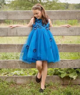 Blue Violet Flower Girl Wedding Dress
