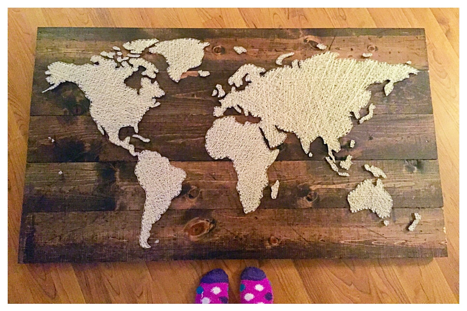 The funky monkey 12x24 name board from southern string giveaway look at this stunning world map this measures roughly 4 feet by 2 12 feet this piece was created with 600 yards of crochet thread and over 1500 nails gumiabroncs Gallery